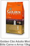 Golden Cão Adulto Mini Biits Carne e Arroz 15kg